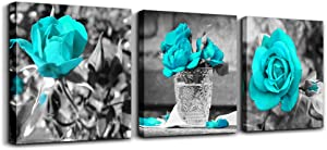 """wall art for living room Black and white rose flowers Blue Big Canvas Prints Wall Decor Artwork 24"""" x 24"""" 3 Pieces Framed Watercolor Giclee with Black Border Ready to Hang for bedroom Home Decoration"""