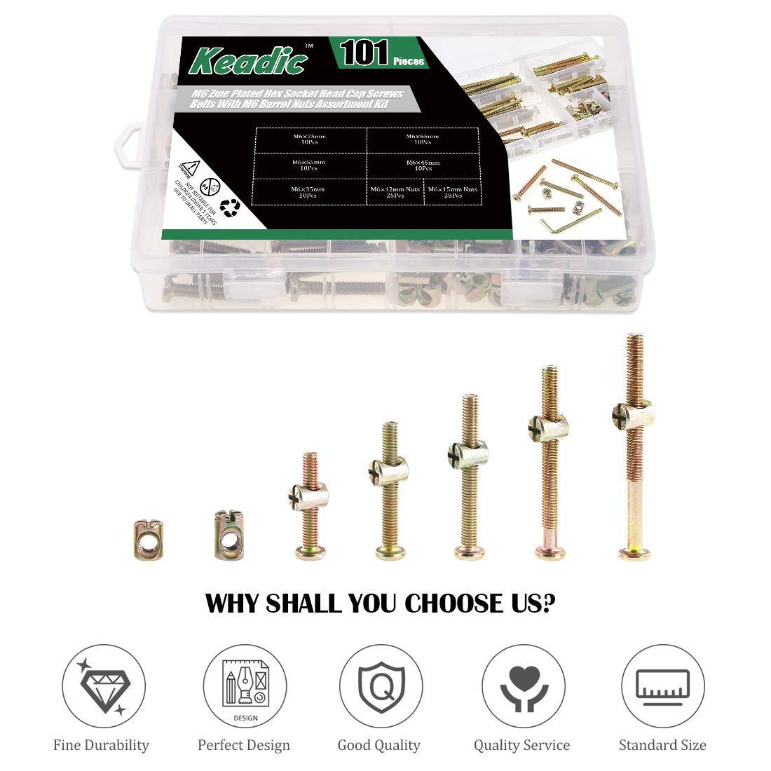 35//45//55//65//75mm Zinc Plated Steel Barrel Bolt Nuts Hardware Replacement Kit for Furniture Cots Beds Crib 1 Hex Key for Free Keadic 100Pcs M6 Hex Socket Head Cap Screws Nuts