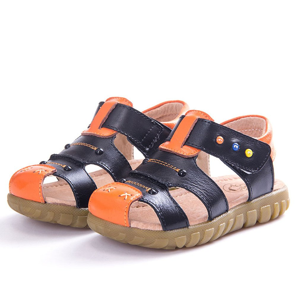 Mubeuo Closed Toe Leather Boys Toddler Little Kids Sandals