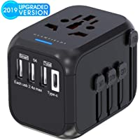 Glamfields Worldwide All in One AC Outlet Power Plug Adapter with 3 USB + 1 Type C Charging Ports