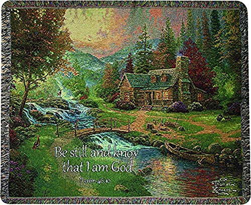 Psalm Throw - Manual Woodworkers & Weavers Tapestry Throw, Psalm 46:10, 50 x 60-Inch, Mountain Paradise Scripture
