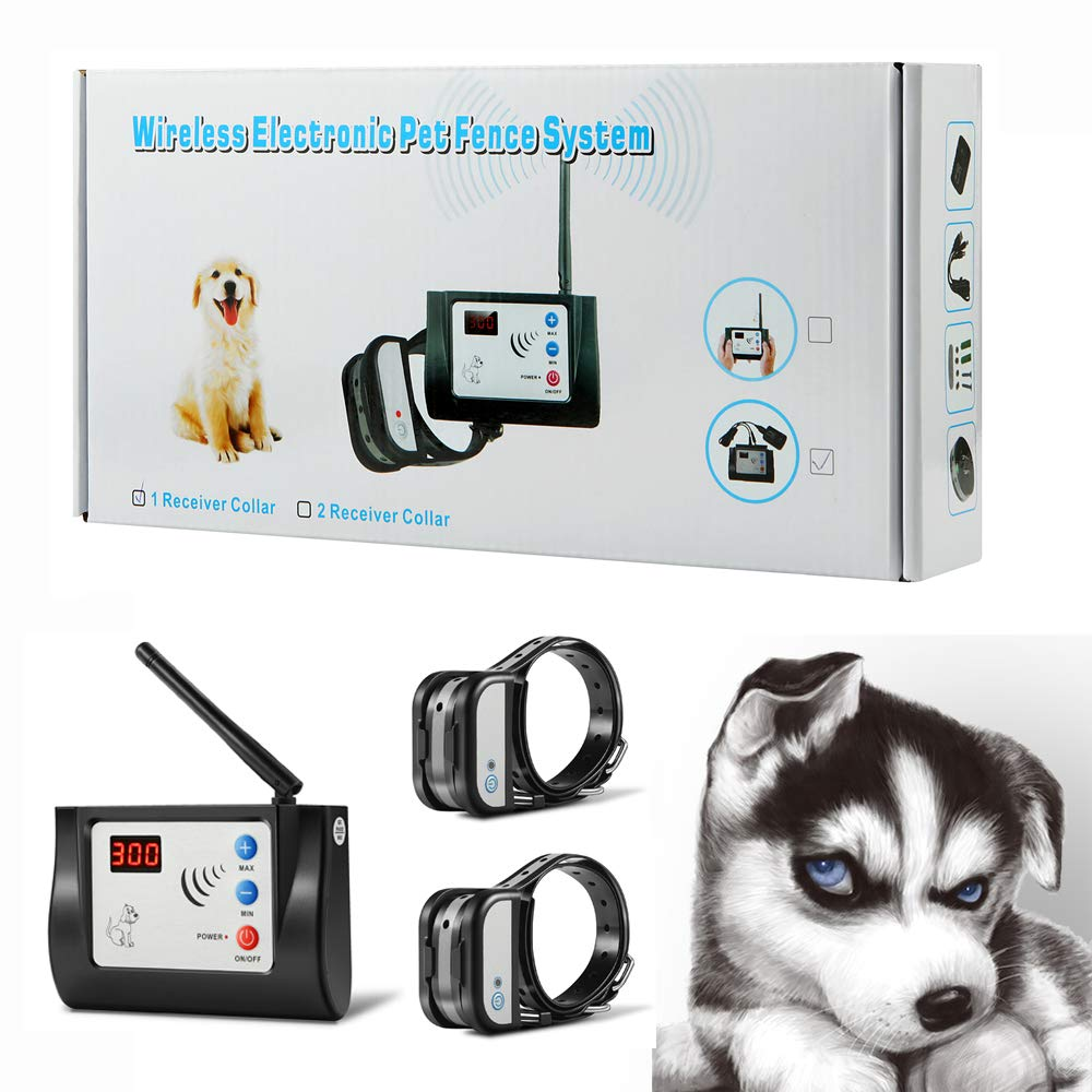 Bling Bling Petsfun Electric Wireless Dog Fence System for2 Dogs, Pet Containment System for Dog and Pets with Waterproof and Rechargeable Training Collar Receiver for 2 Dogs Boundary Container by Blingbling Petsfun