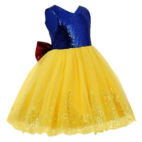 Iwemek Blancanieves Princesa Disfraz De Halloween Bebé Niñas Vestido De Fiesta Largo De Tulle Carnaval Cumpleaños Ceremonia Comunión Navidad Paseo