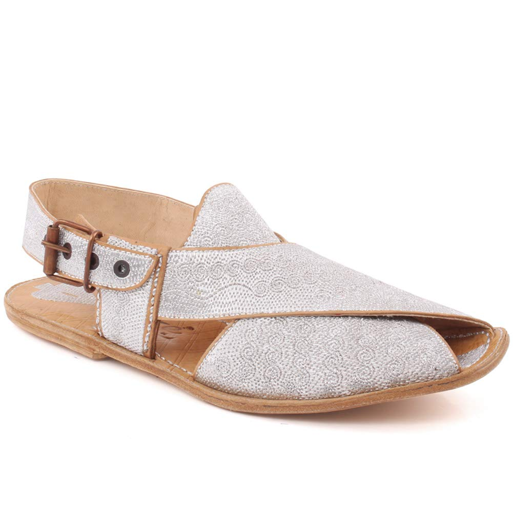 QAS002 Unze Mens Tom Full Leather Traditional Casual Embroidered Sandals with Buckle Closure UK Size 6-11