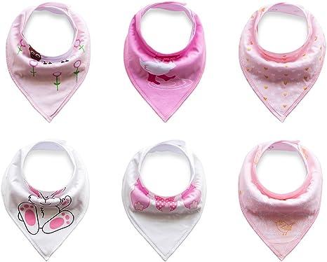 6 baberos tipo bandana de la marca Txian, 100% algodón con bonitos diseños, impermeables, para bebés y niños pequeños: Amazon.es: Bebé
