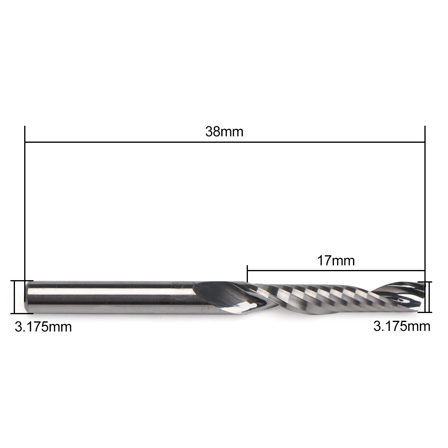 Carbide Milling Cutter, EnPoint Acrylic End Mill 3.175mm 1/8inch Shank 17mm Flute Length 3.175mm Cut Dia CNC Spiral Milling Cutter for Acrylic PVC MDF Color Plate by EnPoint (Image #2)