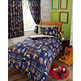 Kids Club Boys Building Site Design Duvet Cover Bedding Set (Single, Double) (Twin) (Blue)