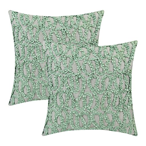 - The White Petals Sage Green Euro Sham Covers (Ribbon Work, 26x26 inch, Pack of 2)