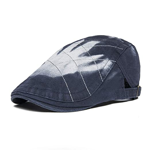 608e0e60 VOBOOM Men Denim Jeans Newsboy Beret Hat Duckbill Buckle Cabbie Cap (013  Dark Blue)