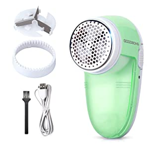 GOODBONG Electric USB Lint Remover with 1 Replaceable Stainless Steel 3-Blades, Rechargeable Electric Sweater Shaver, Quickly and Effectively for Couch, Blanket, Curtain, Socks(Green)