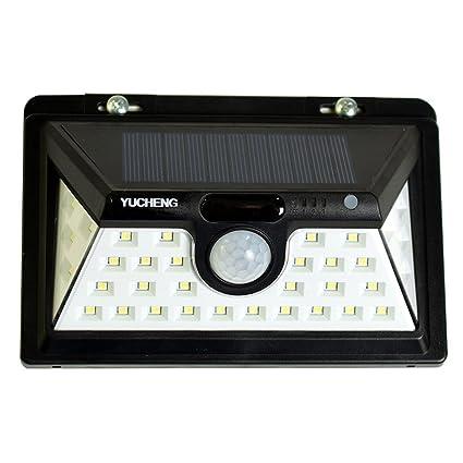 YUCHENG Luces Solares 34 LED Impermeable Sensor de Movimiento Gran Angular de Iluminación Inalámbrica para Patio