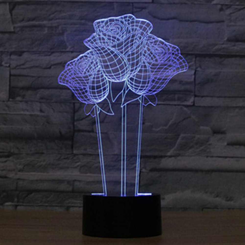 YKL WORLD 3D Flower Gift, Rose Lights Optical Illusion Night Light Led Touch Desk Table Lamp, 7 Color Change Mood Lamp Lighting Gifts for Lovers Birthday Valentine's Day