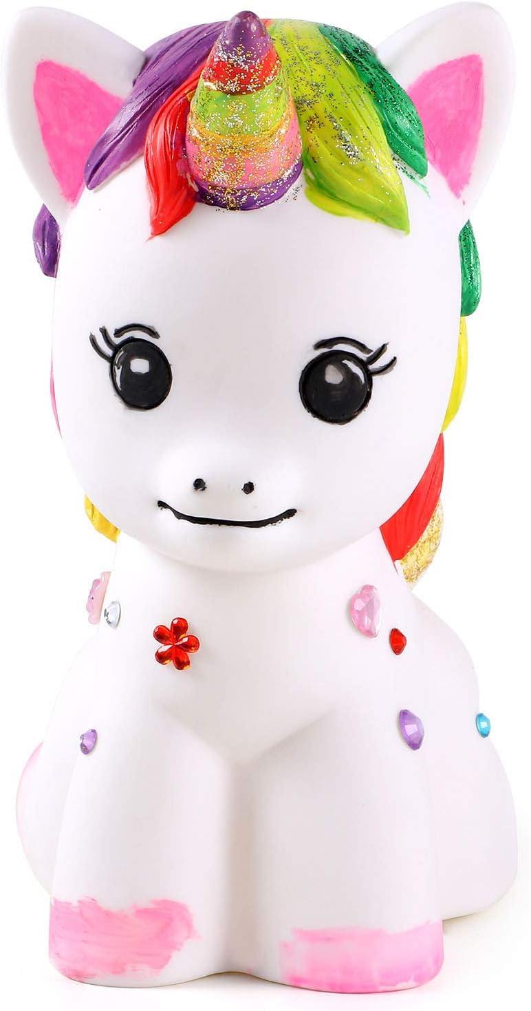 vamei Unicornio Regalos Cumplea/ños Unicornio Juego para modelar y Pintar Hucha Unicornio Kit de Pintura Unicornio para ni/ñas DIY Decoraci/ón Artes y Manualidades para ni/ños A