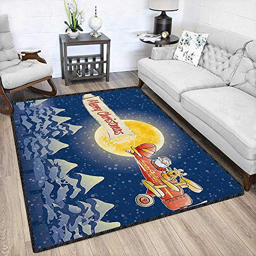 100 Cfm Airline - Christmas Contemporary Synthetic Rug,Santa Claus Airline Theme Vintage Plane Full Moon Snow Covered Trees Textured Geometric Design Dark Blue Marigold Red 67