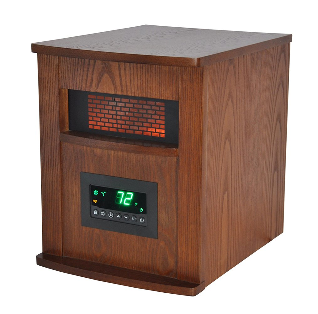 LIFESMART 6 Element Large Room Infrared Quartz Heater with Wood Cabinet and Remote LS-1000X-6W-IN