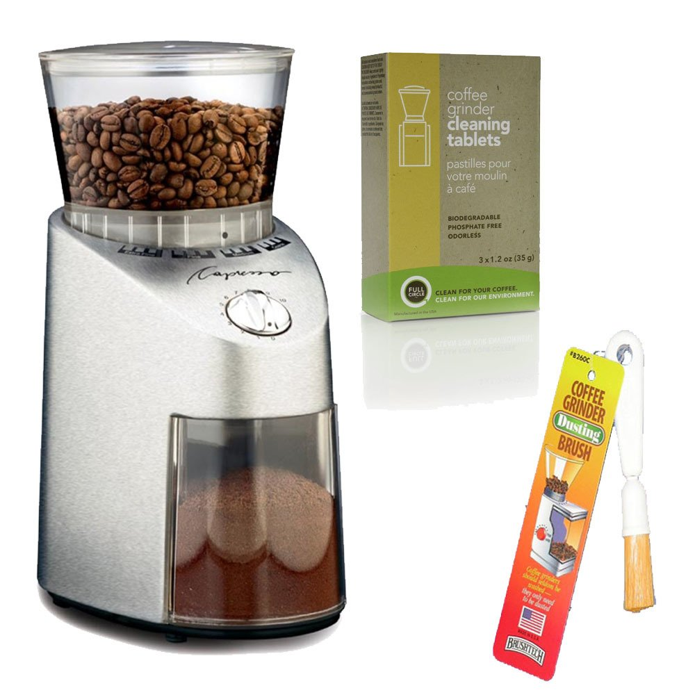 Urnex Full Circle Biodegradable Coffee Grinder Cleaning Tablets Coffee Grinder Dusting Brush Capresso 565 Infinity Stainless Steel Conical Burr Grinder