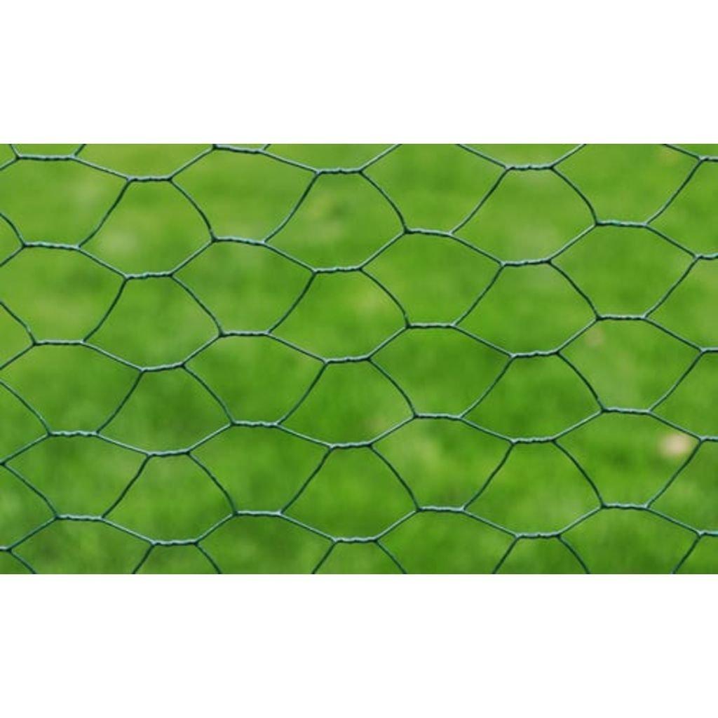 vidaXL Red de Alambre Hexagonal de 1 m x 25 m con recubrimiento de PVC de 1mm