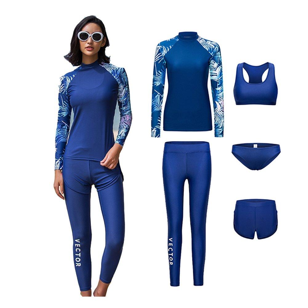 VECTOR レディース 長袖 ウェットスーツ スイムスーツ シャツ ウォータースポーツ サーフィンパンツ ダイビング シュノーケリングスーツ UPF 50+ 紫外線保護 5点   B07C19CF1K