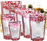 14x20cm (5.5x7.9 inch) Matte Clear Stand Up Gusseted Smell Proof Pouches Heat Sealable Resealable Zipper Packaging Bag Grocery Food Storage Snack Bulk Safe Grade Wrap (Pack of 500 Pieces)