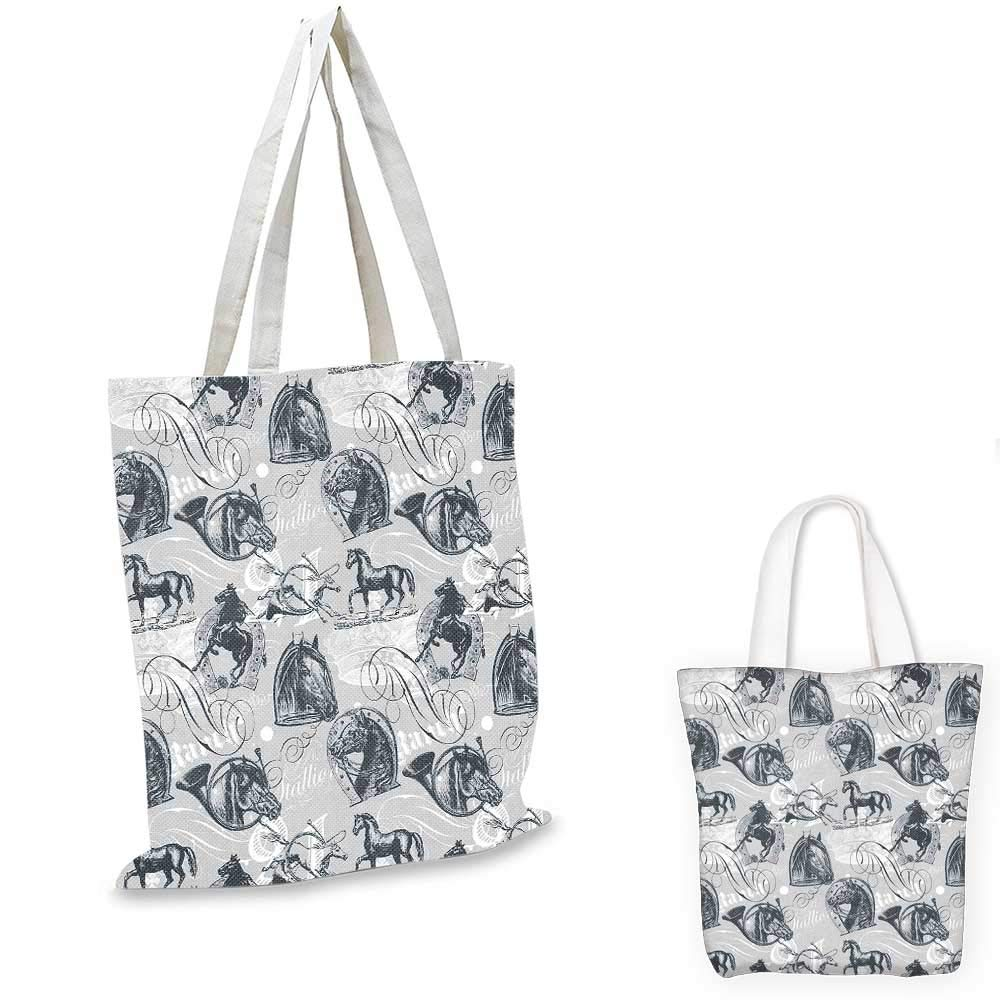 Grey canvas messenger bag Different Kind of Nostalgic Gentle Horses on Calligraphic Vintage Styled Background Home foldable shopping bag Grey White 14x16-11