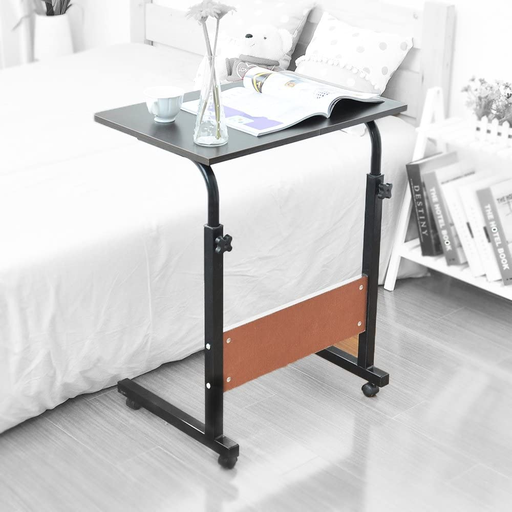 40cm Table Roulant de Lit Canap/é pour Ordinateur Portable Hauteur R/églable Table dappoint Support dordinateur Table avec 4 roulettes Verrouillables /Érable Blanc 05#1-60MP-BH sogesfurniture 60