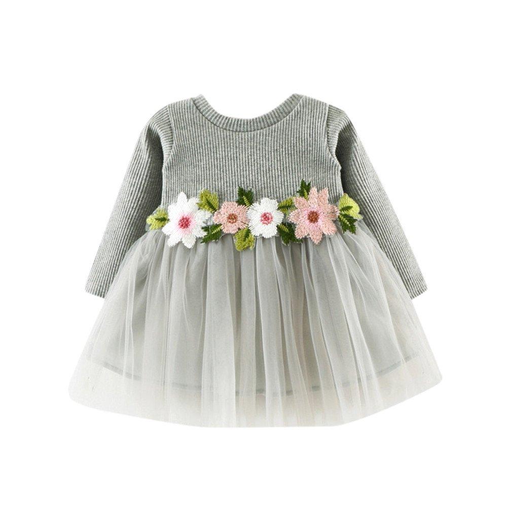 Mealeaf_❤️Swimwear ❤️Mealeaf❤️可爱蹒跚学步宝贝女孩花卉蓬蓬裙长袖公主裙公主方礼服与白色粉红色灰色3色 (0-6 Months Old, White) meal-leaf