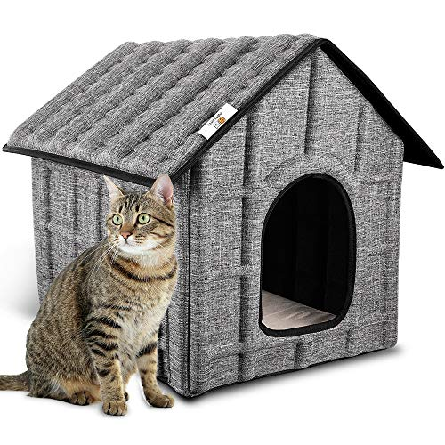 PUPPY KITTY Cat House Insulated Foldable Pet House with Removable Soft Mat and 4 Fixed Buckle for Indoor/Outdoor Warm Bed for Cat,Puppy Dog,Rabbit in Winter