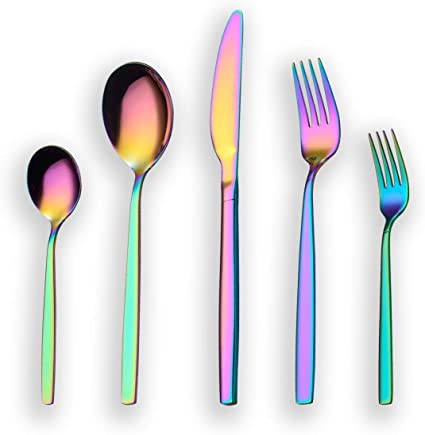 Berglander 30 piezas de titanio color del arco iris cubiertos ...