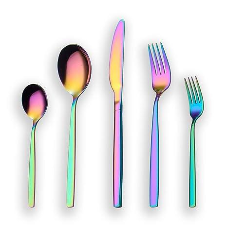 Berglander 30 piezas de titanio color del arco iris cubiertos juego de cubiertos, 30 piezas