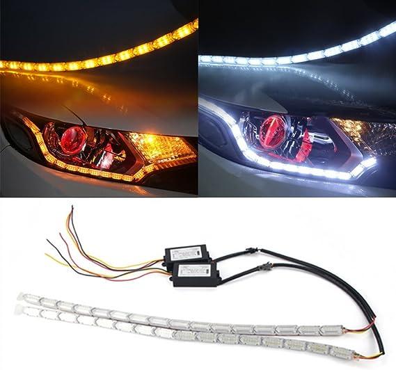 Huayin 2x 37cm Auto Wasserdichte Flexible Weiß Gelb Switch Run Fire Sequence Streifen Lichter Drl Tagfahrlicht Signal Lichter Blinker Blinklicht For 37cm 12 Turning Light Auto