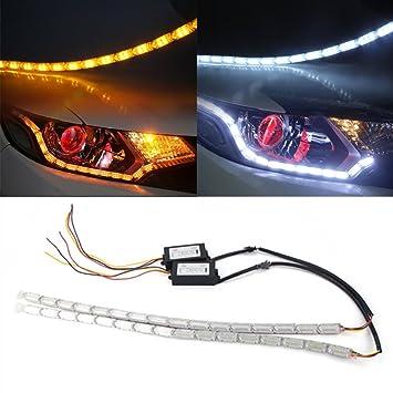 HUAYIN 2 tiras de luces LED DRL Huayin impermeables para coche, flexibles, blancas y