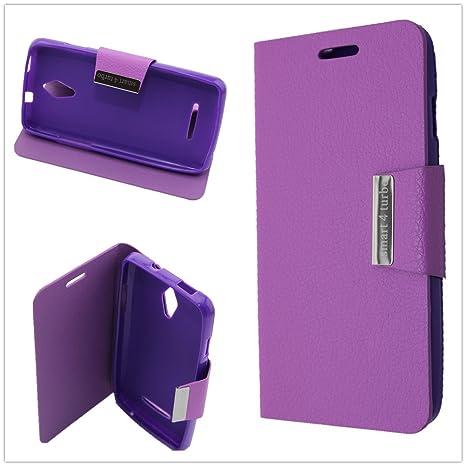 Misemiya ® | Funda Vodafone Smart 4 Turbo Libro Cuero Agenda Soporte Violeta
