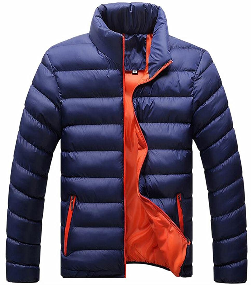 FLCH+YIGE Men's Stand Collar Classic Zip Front Outwear Puff Down Padded Coat