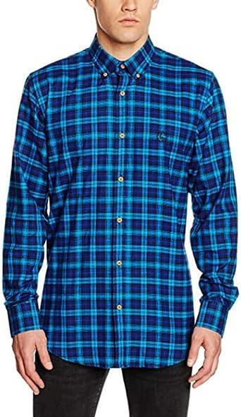 ELGANSO Camisa Cuello Botón Tartán Pequeño Turquesa Hombre: Amazon.es: Ropa y accesorios