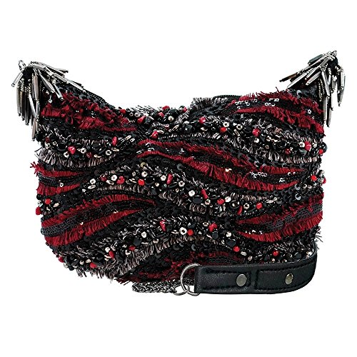 MARY FRANCES Bordeaux Escape Embellished Zip Top Mini Crossbody Handbag