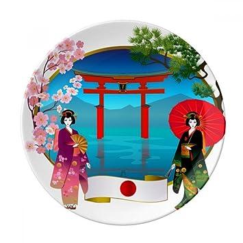 Kimono - Paraguas de porcelana decorativo, diseño de chica japonesa, 25,4 cm