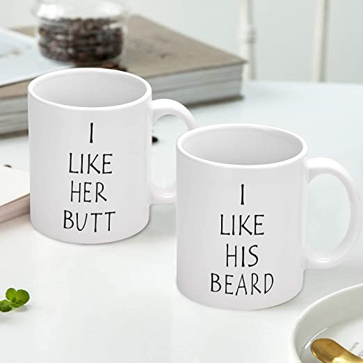 I Like His Beard I Like Her Butt Couples Funny Coffee Mug Set Wedding Gifts Couples Gifts Engagement Gifts For His And Hers Best Gifts For Husband