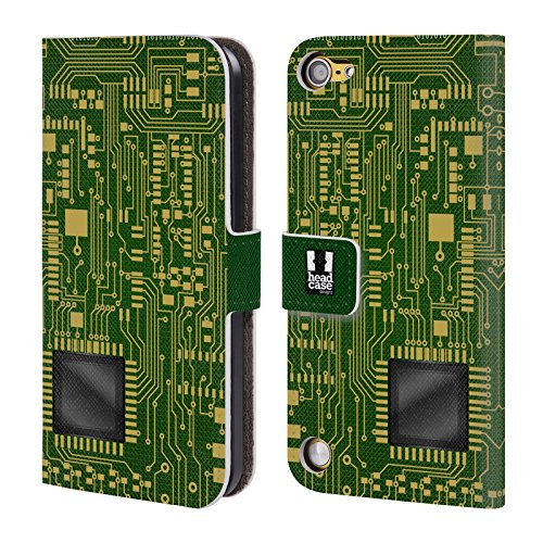 Head Case Designs Verde Scuro Circuiti Cover a portafoglio in pelle per iPod Touch 5th Gen / 6th Gen