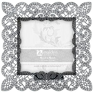 Malden Sabella Lace Metal Picture Frame, 4 by 4-Inch