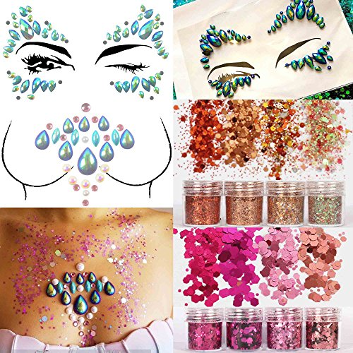 COKOHAPPY 2 Sheets Face & Breast Mermaid Rhinestones Sticker Gem with 8 Boxes 10ml Holographic Chunky Glitter Ultra-thin Colorful Mixed Paillette - Festival Rave Party Jewel Tattoo Set 2