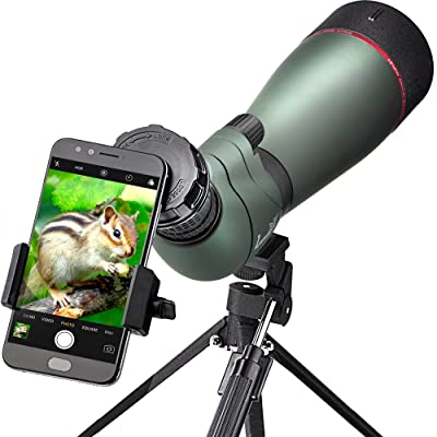 landove 20-60X 80 Prism Spotting Scope- Waterproof Scope for Birdwatching Target Shooting Archery Outdoor Activities