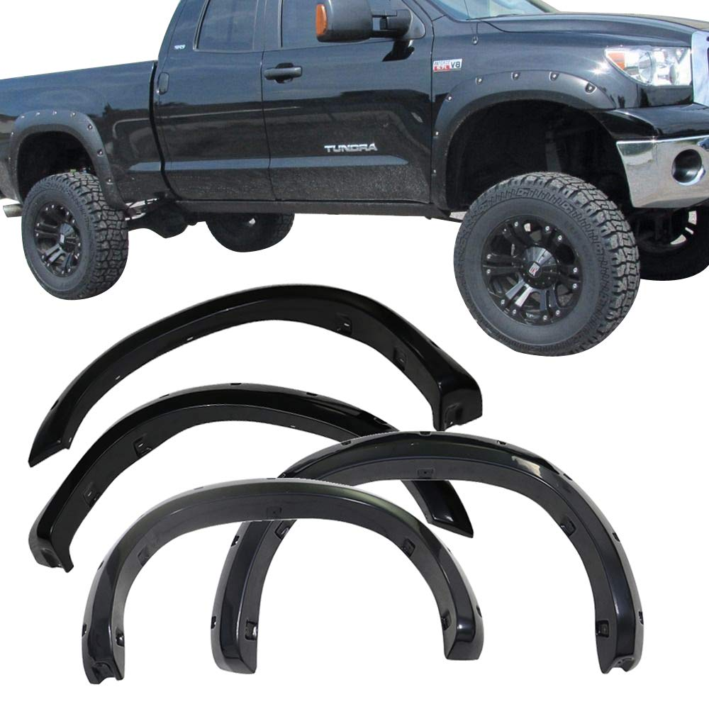 Fender Flares Fits 2007-2013 Toyota Tundra | Black ABS Front Rear Right Left Wheel Cover Protector Vent Trim by IKON MOTORSPORTS |  2008 2009 2010 2011 2012