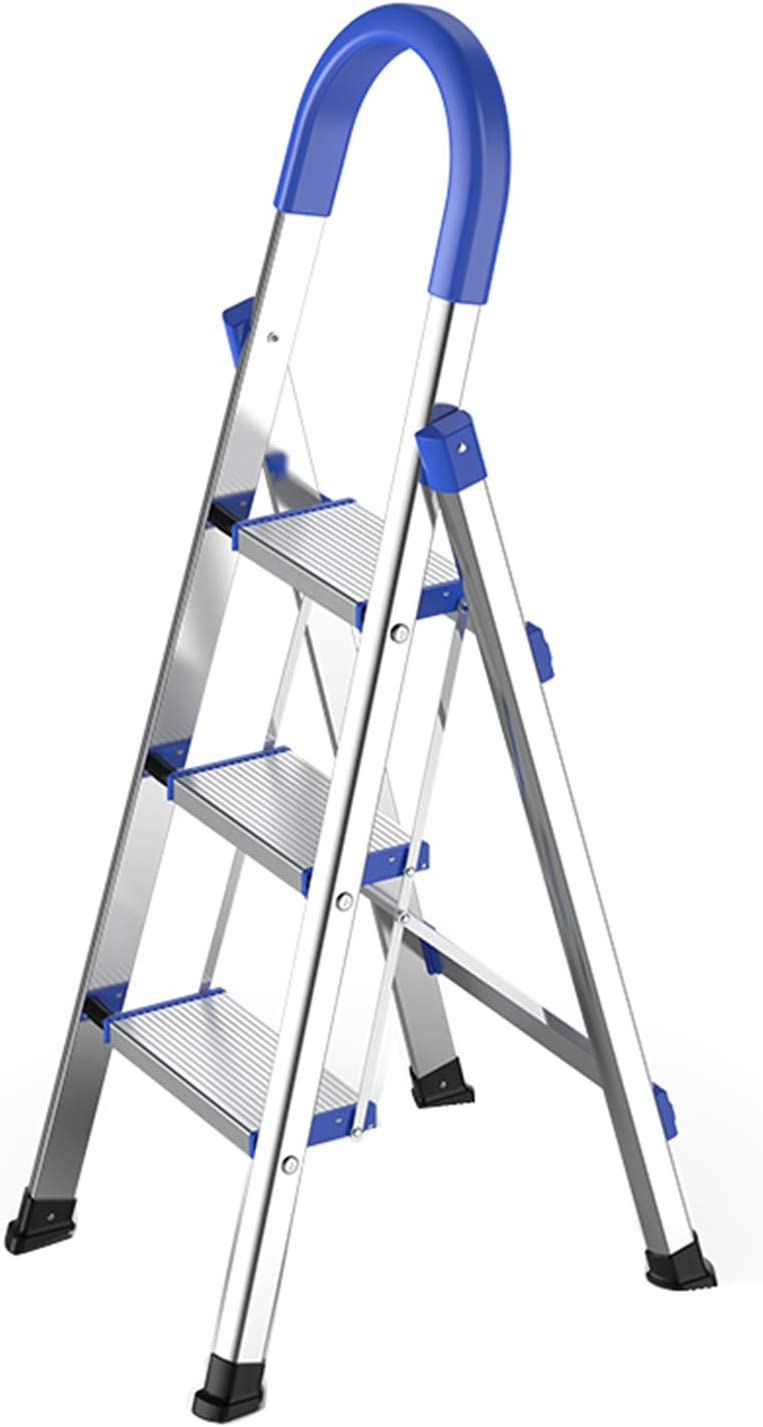 Lightweight Aluminum 3 Step Ladder Folding Step Stool Stepladders with Anti-Slip and Wide Pedal for Home and Kitchen Use Space Saving (Silver)