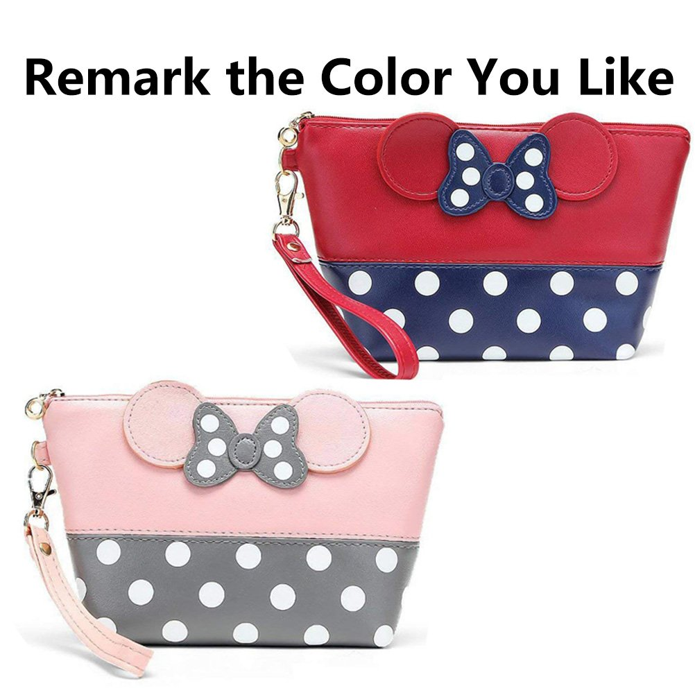 Fashion Cute Minnie Bow Tie Circle Point Cosmetic Bag, YIY Girl Multifunction Makeup Pouch Protable Toiletry Wash Bag Travel Hand Waterproof Zipper Make-up Storage Bag (Handbag, Black) A-265