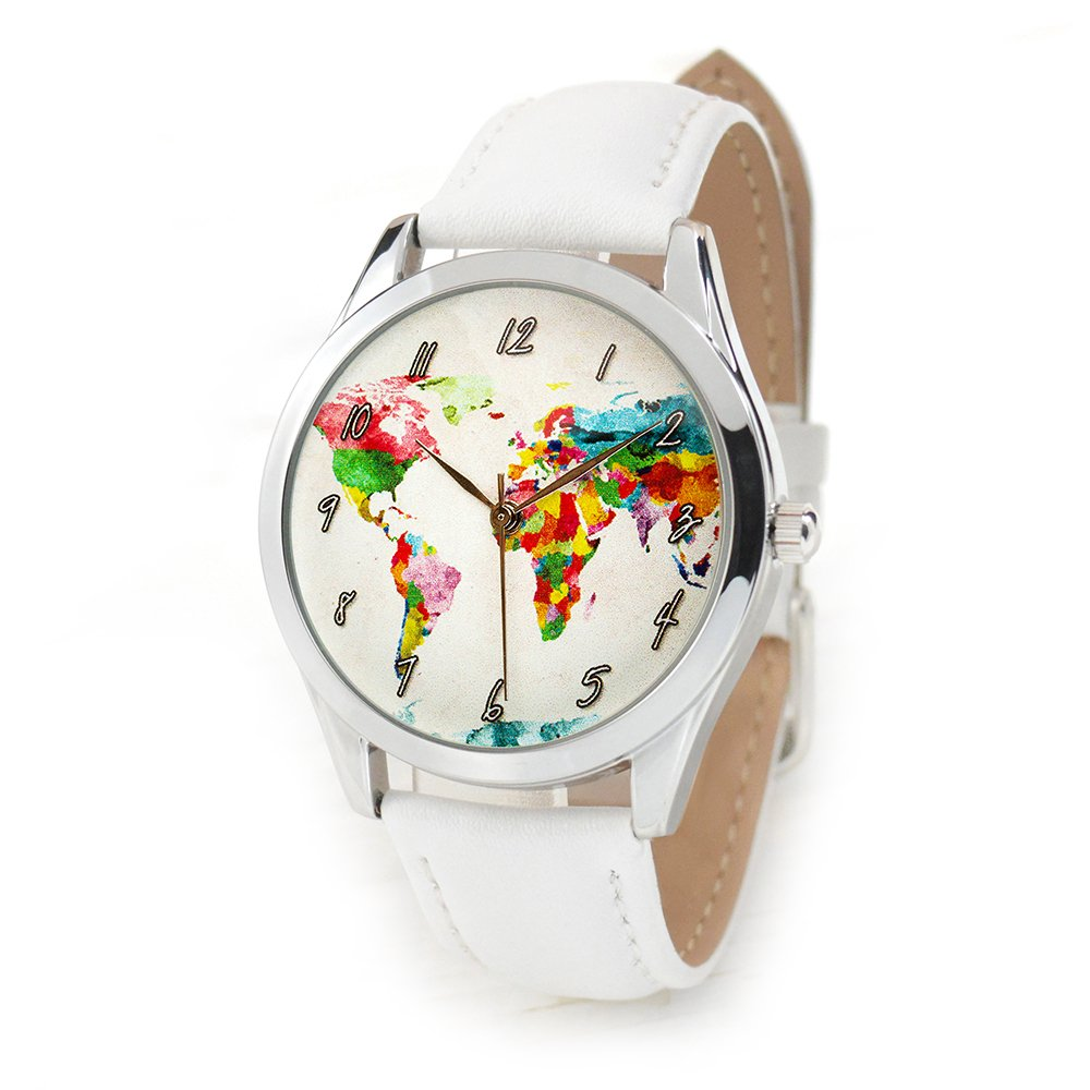 World Map Watch - Watercolor Map Watch for Women with White Leather Band - Quartz Japan Movt - Traveler Gift