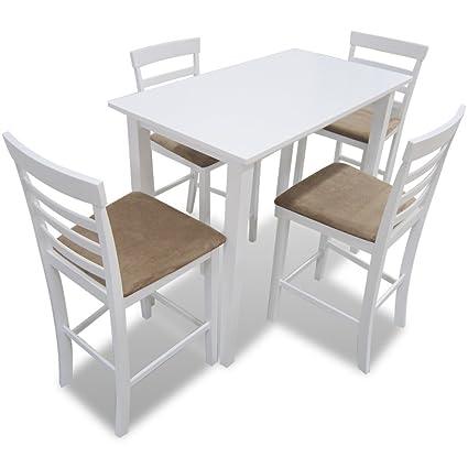Anself Set Tavolo con 4 Sedie in Legno per Bar Cucina e Sala da ...