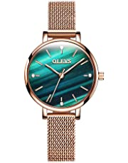 OLEVS Womens Watch - Ultra Thin Fashionable Minimalist - Stainless Steel Bezel Buckle - Luxury Rose Gold Mesh Steel Strap - Casual Analog Quartz Bracelet Watches for Women