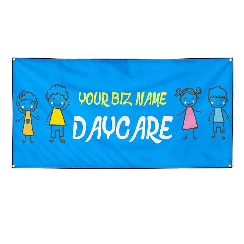 Custom Industrial Vinyl Banner Business Name Day Care Children Weatherproof Yard Signs 12x30inches