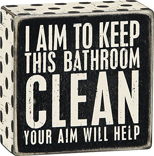 Primitives by Kathy 1 X I Aim to Keep This Bathroom Clean Your Aim Will Help Wooden Sign (Bathroom Signs Wooden)