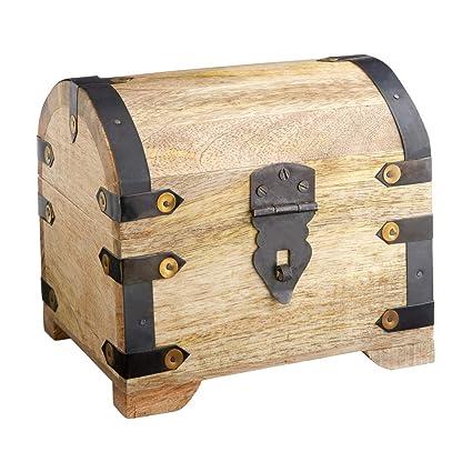 Caja de madera - Cofre del tesoro pirata - Arcón de madera clara - Cajas para